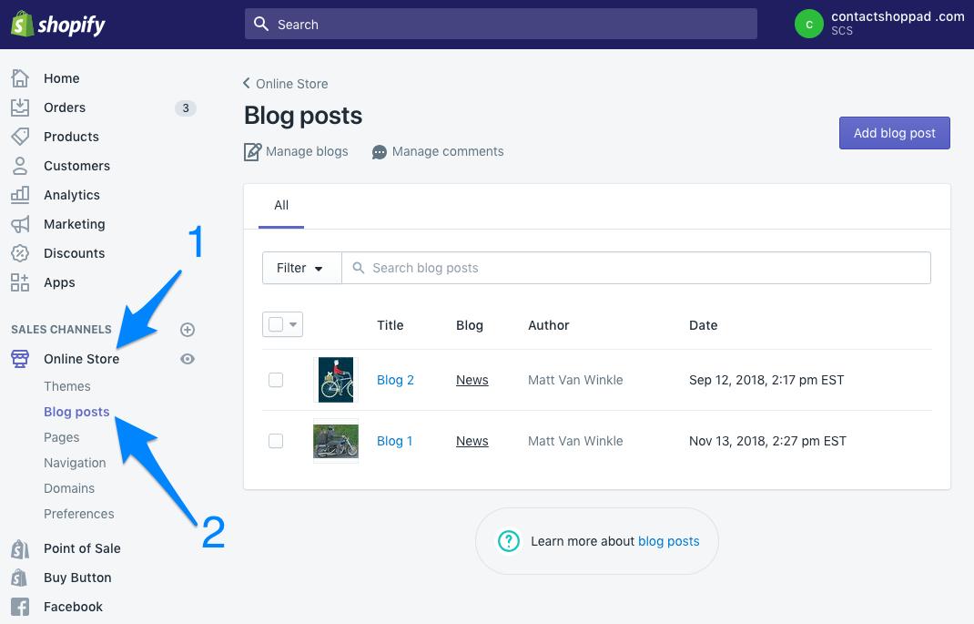 screenshot of Shopify blog