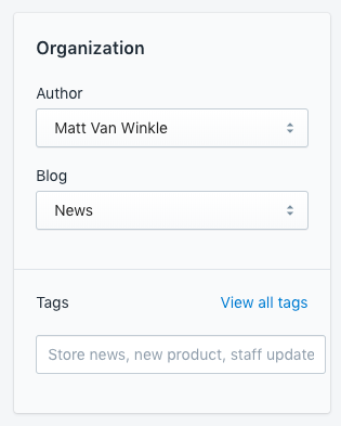 screenshot of metadata in Shopify