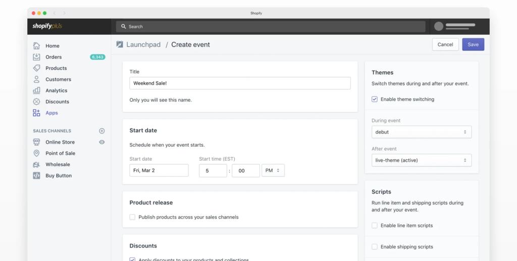 Screnshot: Shopify Launchpad